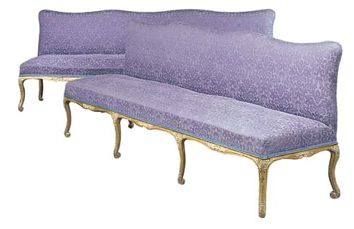 A PAIR OF GILTWOOD SOFAS