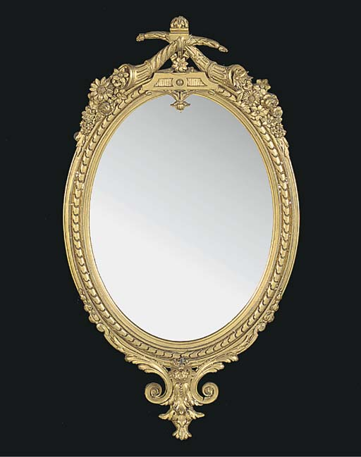 A Victorian giltwood oval mirr