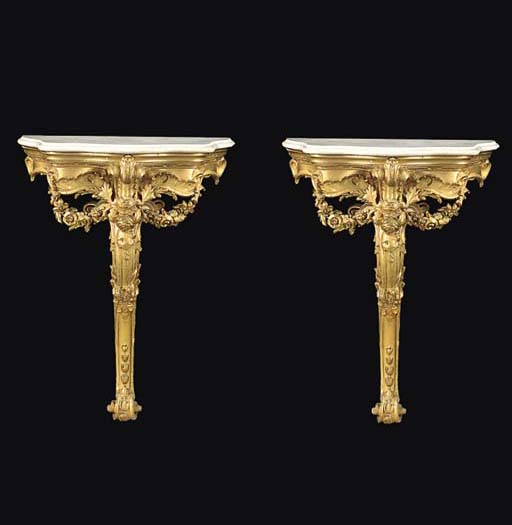 A PAIR OF GILTWOOD AND GILT CO