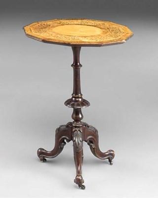A VICTORIAN WALNUT TRIPOD TABL