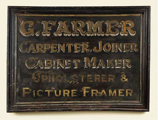 A VICTORIAN PAINTED WOOD TRADE