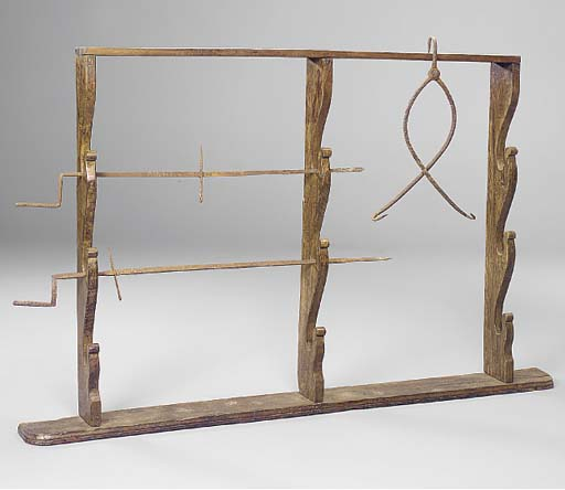 AN ENGLISH OAK SPIT RACK