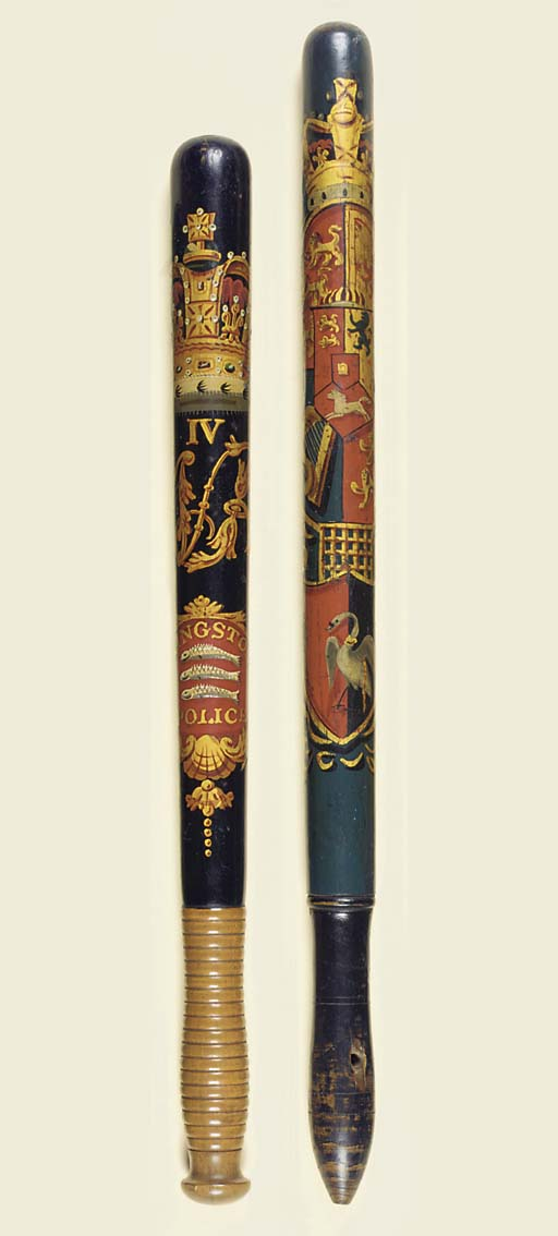 TWO PAINTED WOOD TRUNCHEONS