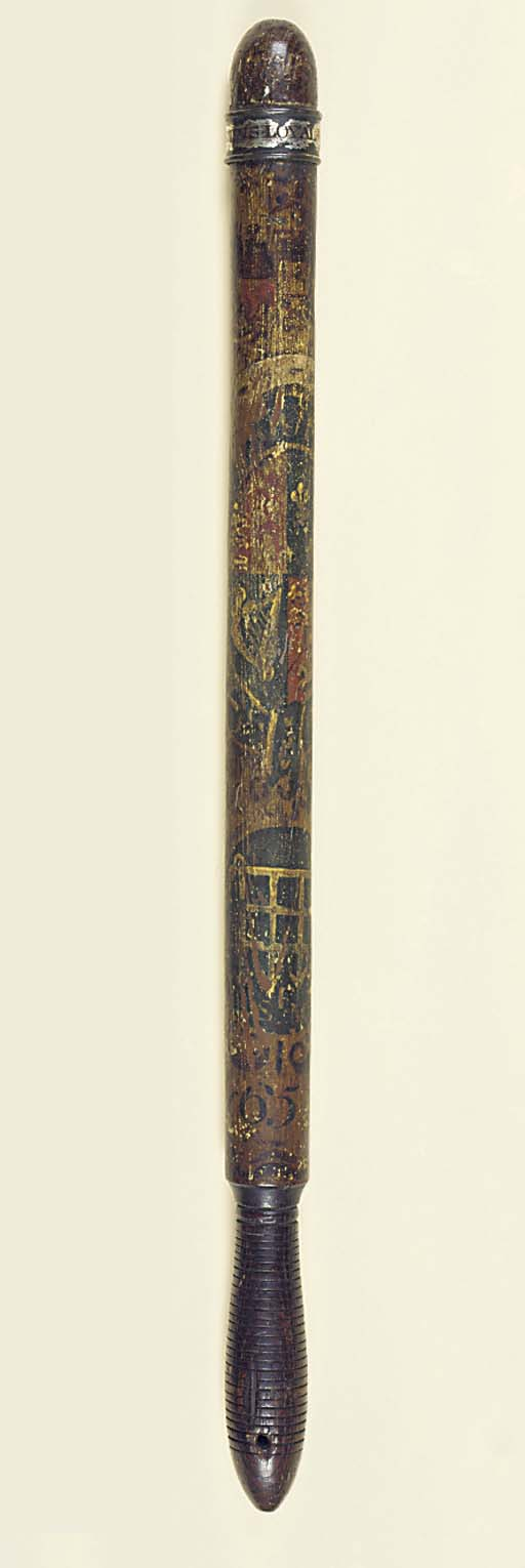 A GEORGE III PAINTED TRUNCHEON