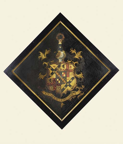 AN OIL ON CANVAS HATCHMENT PAN