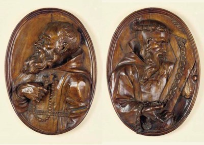 A PAIR OF FLEMISH OVAL WOOD RE