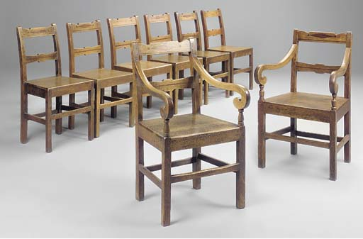 A SET OF EIGHT WELSH OAK AND M