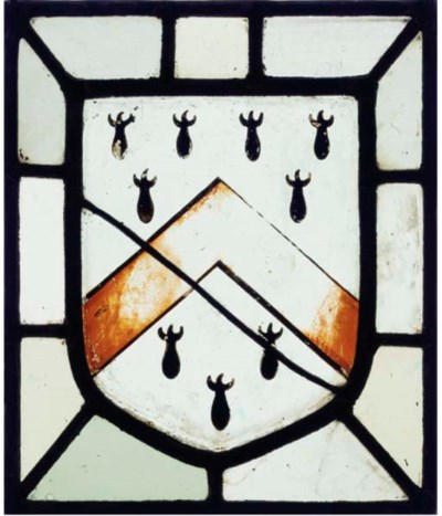 A STAINED GLASS PANEL OF THE A