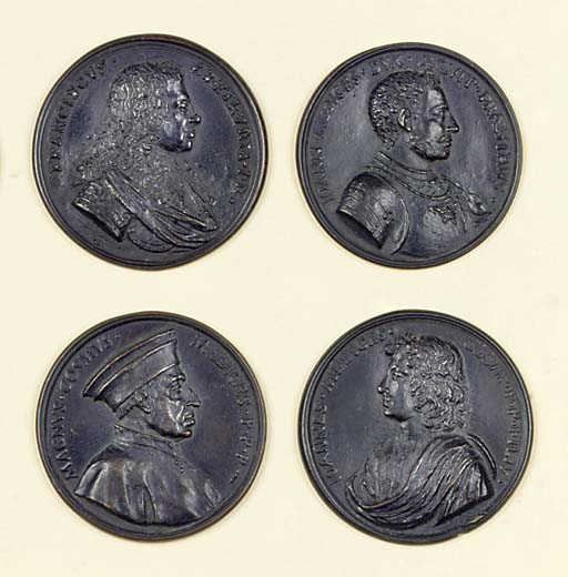 A COLLECTION OF SIX BRONZE MED