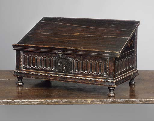 AN ENGLISH OAK AND INLAID AND