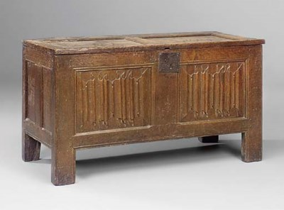 AN ENGLISH OAK LINENFOLD CHEST