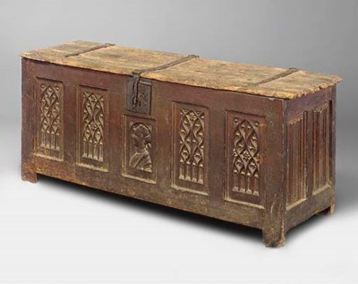 A FRENCH GOTHIC OAK CHEST