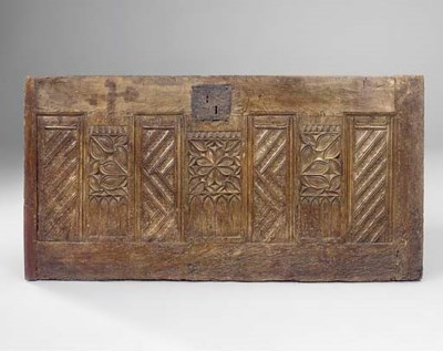A FRENCH GOTHIC OAK CHEST FRON