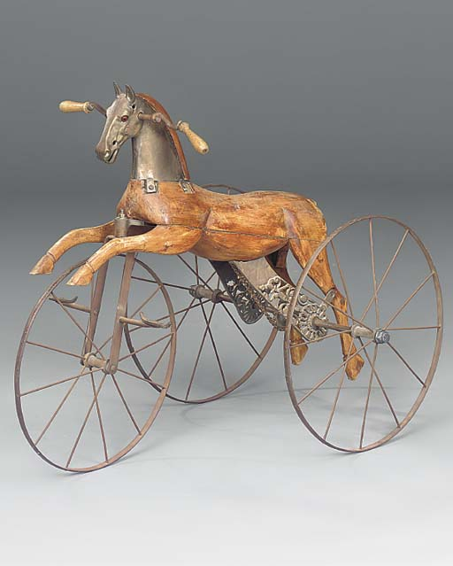 A mechanical wooden tricycle