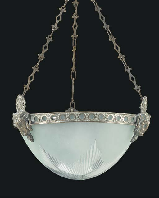 A GILT METAL HANGING LIGHT