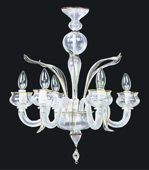 A MURANO GLASS SIX LIGHT CHAND