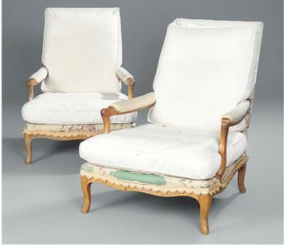 A pair of ash armchairs
