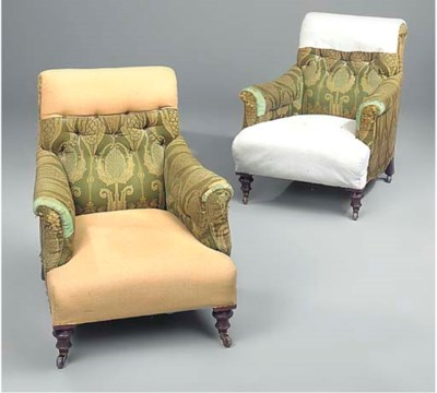 A pair of Victorian armchairs