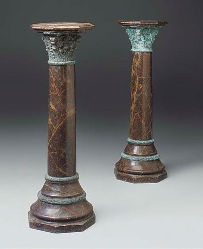 A pair of bronze mounted red m
