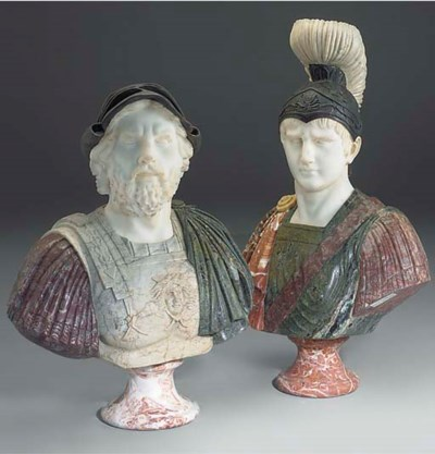 A PAIR OF CARVED MARBLE AND SC