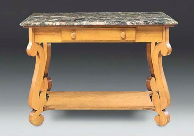 A MARBLE-TOPPED CENTRE TABLE