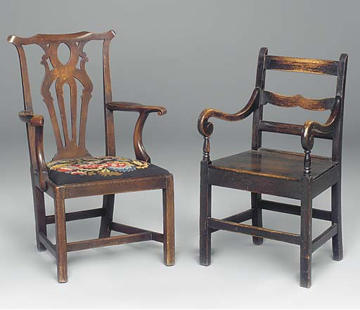 An elm armchair