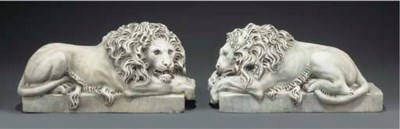 A PAIR OF WHITE MARBLE LIONS
