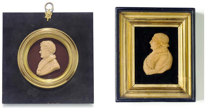 A PINK WAX PORTRAIT RELIEF OF