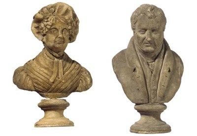 A PAIR OF REGENCY WAX BUSTS OF