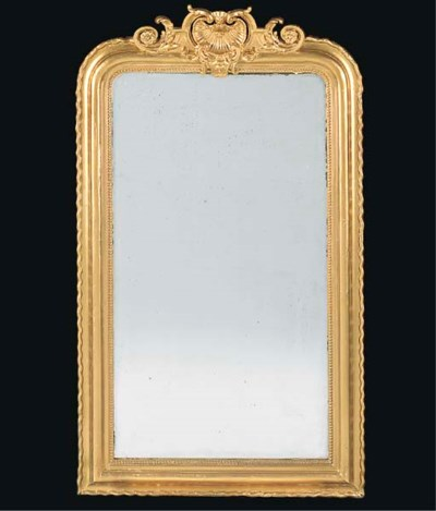 A French gilt painted mirror