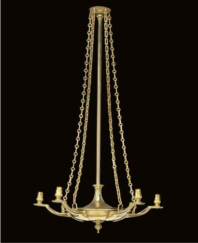A LACQUERED BRASS FIVE LIGHT C