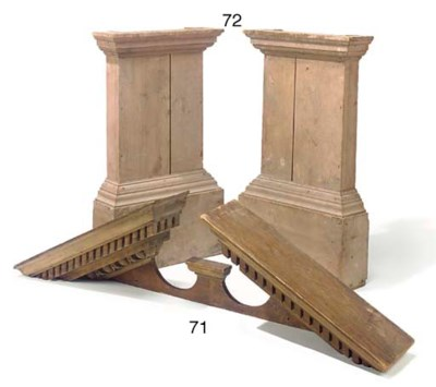 A PAIR OF PINE PILASTER BASES