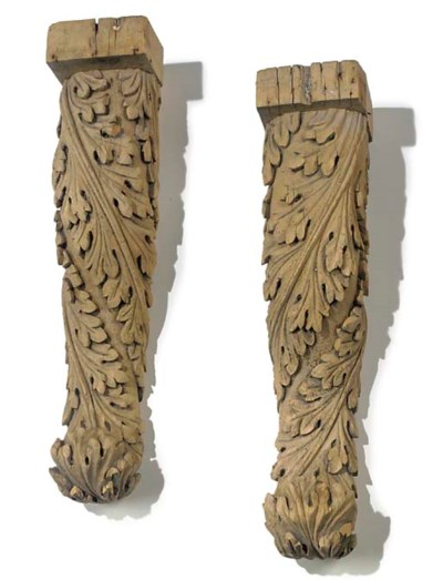 A PAIR OF CARVED PINE BRACKETS