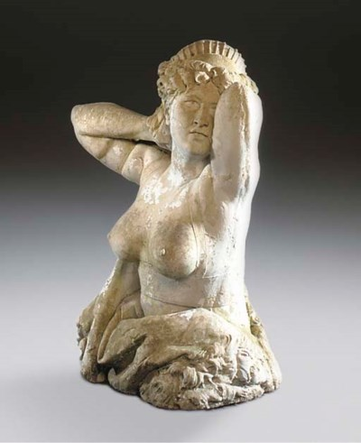 A COMPOSITION STONE FIGURE OF