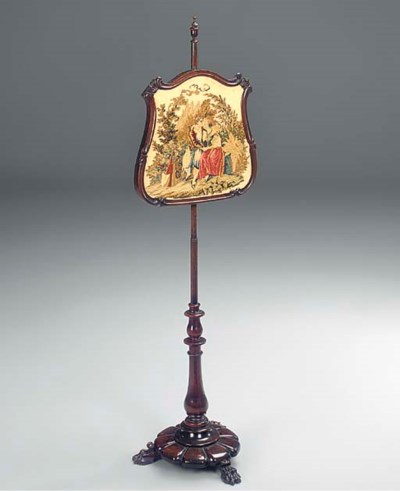 A VICTORIAN ROSEWOOD POLE SCRE