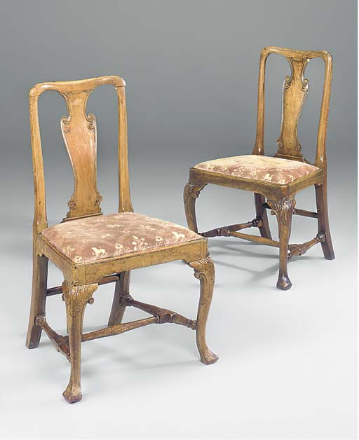 A pair of walnut chairs