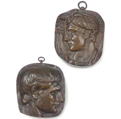 A PAIR OF FRENCH BRONZE PLAQUE