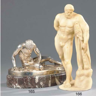 A SILVERED BRONZE MODEL OF THE