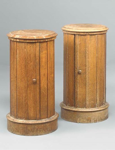 A PAIR OF VICTORIAN OAK CYLIND
