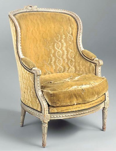 A FRENCH CREAM PAINTED BERGERE