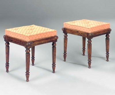 A PAIR OF GRAINED BEECH STOOLS