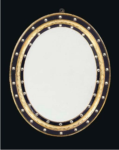A PAIR OF OVAL GILT AND BLACK