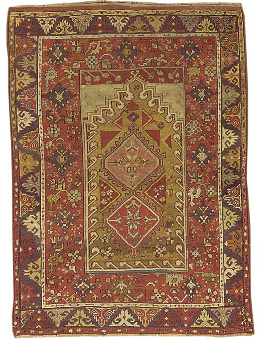 An antique Melas prayer rug, T