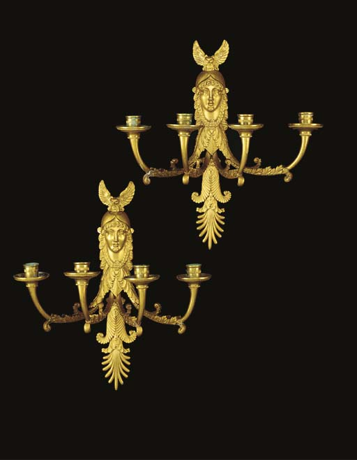 A PAIR OF RUSSIAN ORMOLU FOUR-