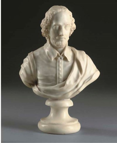 An English carved white marble