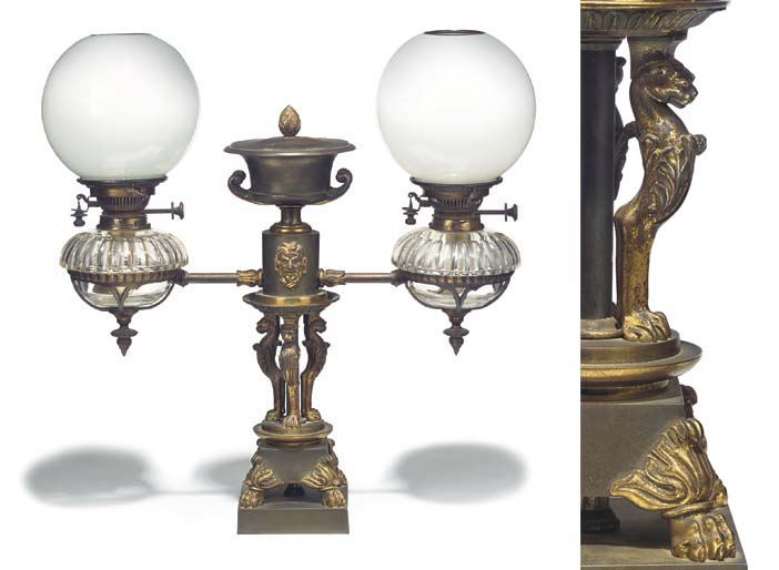 A Regency gilt and patinated b