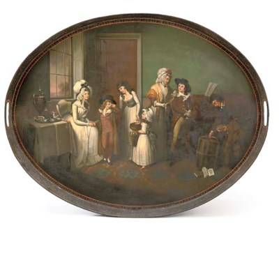 A Regency japanned tin-plate t