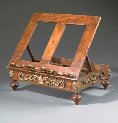 A French walnut table lectern