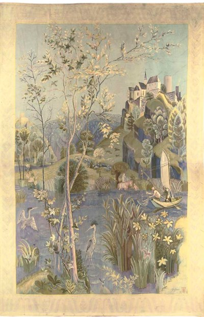 AN AUBUSSON TAPESTRY OF LARGE