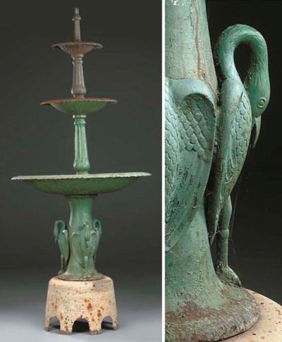 A cast iron three-tier fountai